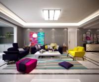 湖城大境三居室161平米现代简约风格电视墙