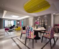 湖城大境三居室161平米现代简约风格客餐厅