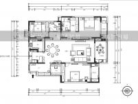 湖城大境三居室161平米现代简约风格平面布局图